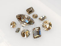 Set beautiful round and emerald cut diamond stones Stock Image