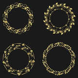 Set beautiful round frame. The ornate curve floral ornament. Fou Stock Images