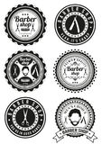 Set of beautiful round vintage barber shop badges Royalty Free Stock Photos