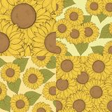 Set of beautiful seamless background with sunflowers. Hand-drawn contour lines and strokes. Stock Photography
