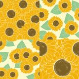 Set of beautiful seamless background with sunflowers. Royalty Free Stock Image