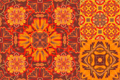 Set with Beautiful seamless ornamental tile background. Vector illustration. Set with Beautiful fire seamless ornamental tile background. Vector illustration Royalty Free Stock Image