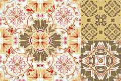 Set with Beautiful seamless ornamental tile background. Vector illustration Stock Image