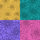 Set of beautiful seamless pattern with flowers. Royalty Free Stock Image