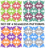 Set of 4 beautiful seamless patterns with unusual decorative ornament Stock Photos