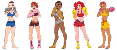 Set of beautiful sport girls in boxing gloves vector illustration