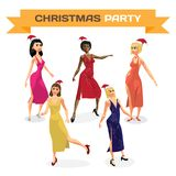Set of beautiful sexy women dress dancing on night party. Vector. Flat cartoon illustration isolated Stock Photos