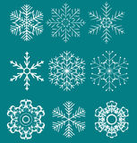 Set of beautiful snowflakes vector illustration Stock Photos