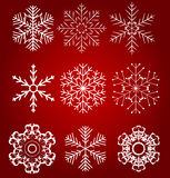 Set of beautiful snowflakes vector illustration Stock Photo