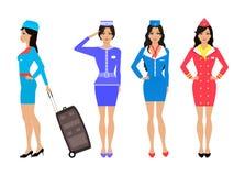 Set beautiful stewardess. Air hostess in uniform Royalty Free Stock Photography