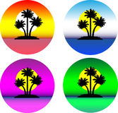 Set of the beautiful tropical islands. Isolated on white Royalty Free Stock Images