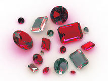Set beautiful turquoise and red gemstones Royalty Free Stock Photos