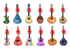 Set of Beautiful Ukulele Guitars with Red Ribbon Royalty Free Stock Images