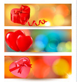 Set of beautiful valentine gift cards. With red gift bows with ribbons Royalty Free Stock Photos