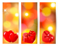 Set of beautiful valentine gift cards. With red gift bows with ribbons Stock Image