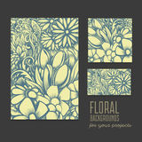 Set of beautiful vector cards with floral background Royalty Free Stock Image