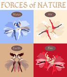Set of beautiful vector cards. Forces of nature, depicted in the form of dancing girls. Four elements: fire, air, earth and water