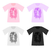 Set of beautiful vector patterned T-Shirts Royalty Free Stock Image