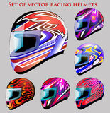 Set of beautiful vector racing helmets with differe Stock Image