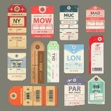 Set of beautiful vintage luggage tag, vintage retro travel label. Set of vintage luggage tag, retro travel label, old flight symbol. Check, baggage ticket for stock illustration