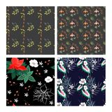 Set of beautiful wallpaper with flower ornament. Set of beautiful dark wallpaper with flower ornament. Cute seamless pattern with floral elements. Fashion print vector illustration