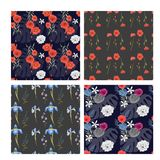 Set of beautiful wallpaper with flower ornament. Set of beautiful dark wallpaper with flower ornament. Cute seamless pattern with floral elements. Isolated stock illustration