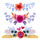 Set of beautiful watercolor flowers Stock Images