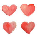 Set of beautiful watercolor hearts on white background Royalty Free Stock Photography