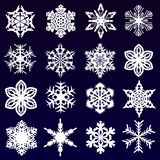 Set of beautiful white snowflakes royalty free illustration