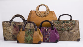 Set of beautiful wicker women handbags Royalty Free Stock Photo