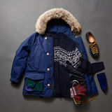 Set of beautiful winter male clothes Stock Photos