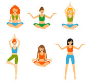Set with beautiful woman exercising various different yoga poses training Royalty Free Stock Photos