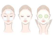 Set of beautiful woman with face mask Royalty Free Stock Photography