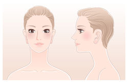 Set of Beautiful woman profile, front and side Royalty Free Stock Photography