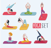 Set with beautiful woman in various poses of yoga. Vector set of yoga illustration. Royalty Free Stock Photos