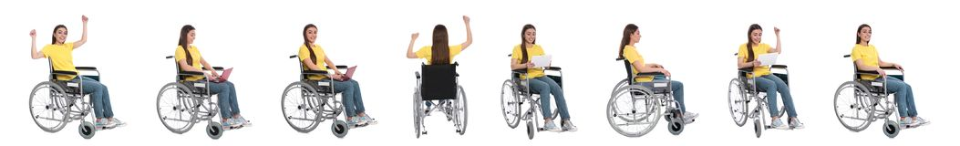 Set of beautiful woman in wheelchair on white. Banner design stock photo
