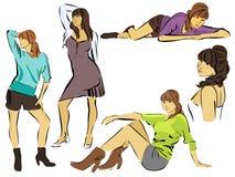 Set of beautiful women. Vector illustration of beautiful women Stock Images