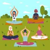 Set with beautiful women in lotus pose of yoga stock illustration