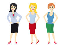 Set of beautiful women. Vector icon woman. Figures of women on a white background Royalty Free Stock Photography