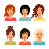 Set of beautiful young girls with various hair. Style Royalty Free Stock Photos