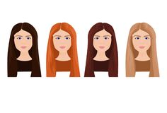 Set Of Beautiful Young Woman Faces With Long Hair In Different Colors Isolated On White Background. Vector Illustration Royalty Free Stock Photos