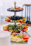 Set of beautifully decorated fruits on corporate party event or wedding celebration Stock Photos