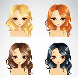 Set Of Beauty Casual Hairstyle Royalty Free Stock Photography