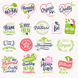 Set of beauty and cosmetics, spa and wellness badges and stickers Royalty Free Stock Photography