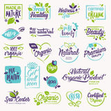 Set of beauty and cosmetics, spa and wellness labels and elements stock illustration