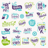 Set of beauty and cosmetics, spa and wellness stickers and elements Royalty Free Stock Image