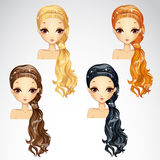 Set Of Beauty Event Hairstyle. Vector illustration of beautiful event hairstyle set for girls Stock Photography