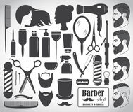 Set of beauty hair salon or barbershop accessories icons. Vector illustration Royalty Free Stock Photo