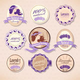 Set of beauty labels. Set of natural beauty labels with lavender Royalty Free Stock Photo