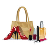 Set beauty makeup cosmetic accesory wo fashion Royalty Free Stock Photography